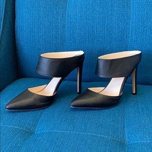Express Black Strap Pump, Pointed Toe-Open Heel: 7